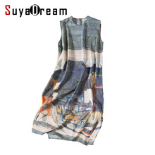 Women 100% Real Silk long dress Luxury Print Natural silk Sleeveless dress Mid Calf length 2017(China)