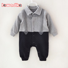 Newborn Baby Rompers Clothes Cotton Suits Infant Jumpsuit Outwear Gentleman Baby Boys Jumpsuit Clothing(China)