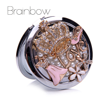 Crown Pocket Makeup Mirrors Bling Crystal Rhinestone Double-Sides Folded Portable Stand Mirrors Compact Gift for Valentine's Day