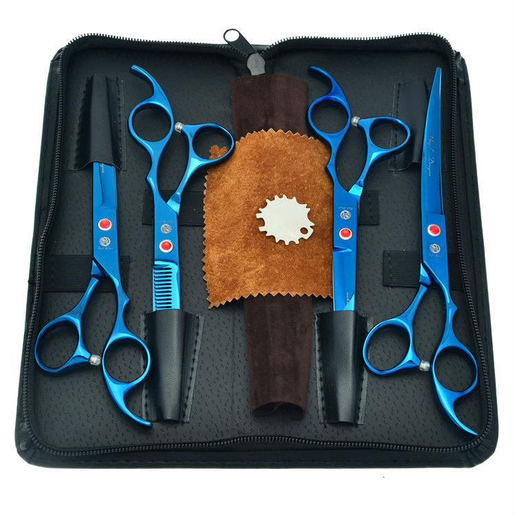 7.0 Blue Pet Scissors Set Animal Hair Shears Cutting &amp; Thinning &amp; 2 Curved Dog Scissors Kit JP440C, LZS0370<br>