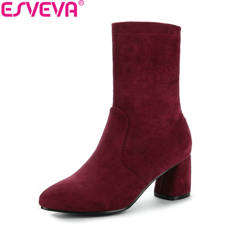 ESVEVA 2018 Comfortable to Wear Women Boots Square High Heels Mid-calf Boots Pointed Toe High Quality Sewing Boots Size 34-43<br>