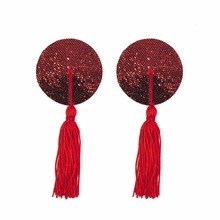 Women Reusable Nipple Cover Sexy Breast Petals Sequin Tassels Pasties Self Adhesive Tape Stickers