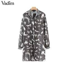 Vadim women cute cat dog animal pattern dress pocket long sleeve ladies chic autumn causal brand mini dresses vestidos QZ3321(China)
