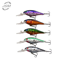 JSM 5pcs/lot Minnow Fishing Lures Baits Deep Diver Sinking Bass Crankbaits with 3D Fishing Eyes Two Treble Hooks