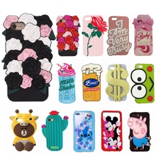 Lovely rose flower soft silicone case for iPhone 7 7 plus 3d cute cartoon bear pig rubber cover for iPhone 6 6s plus girl cases