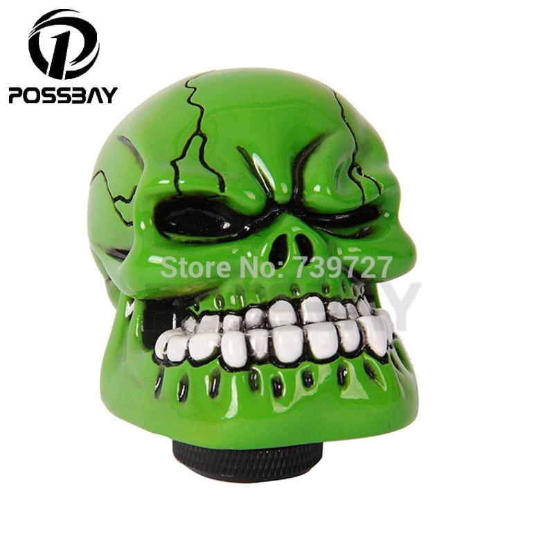 Possbay cool cabeza gear green human carved skull head car gear shift knob shifter lever