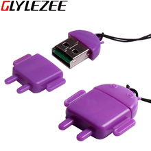Glylezee USB Card Reader Robot Shape T-Flash Memory Card MicroSD Card Adapter Up to 64GB 4 Colors