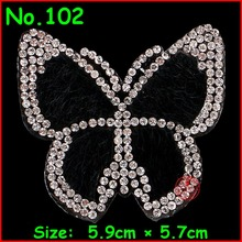 2 pcs/Lot Crystal Butterfly Patches Motif Hotfix Rhinestone Applique Jewelry For Children Kids Women Dress Clothes Wedding(China)