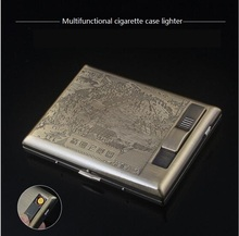 Lighter cigarette case for 20  packs USB charging multifunction brass gift