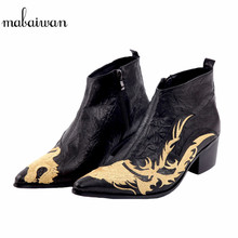 Mabaiwan New Dragon Embroidered Pointed Toe Men Black Ankle Boots Fashion Handmade Wedding Dress Shoes Men High Quality Boots(China)