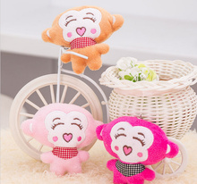 Kawaii 5CM Little Monkey , Mix Color , Gift Plush Stuffed TOY , string Pendant DOLL ; Wedding Bouquet Plush TOY DOLL(China)