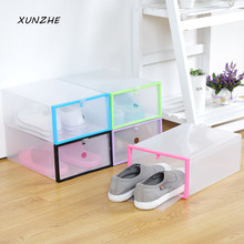 XUNZHE NEW Multifunction Plastic Shoe Box Transparent Crystal Storage Shoebox Household DIY Clamshell Shoebox Storage Box(China)