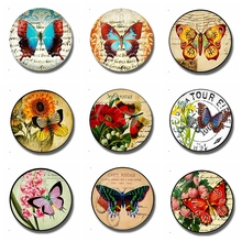 1P Butterfly Art 30 MM Fridge Magnet Butterfly Journal Glass Cabochon Magnetic Refrigerator Stickers Note Holder Home Decoration(China)