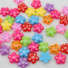 250pcs kawaii Resin Lovely cabochons polka dots little sun flower pendants charm ,hair bow center diy 17mm(China)