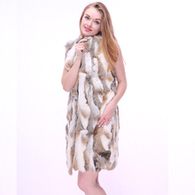 Genuine Women Rabbit Fur Vest Sexy Fur Waistcoat Real Fur Coats For Women Winter Natural Furry Coat Fashion Silm Female Outwear(China)
