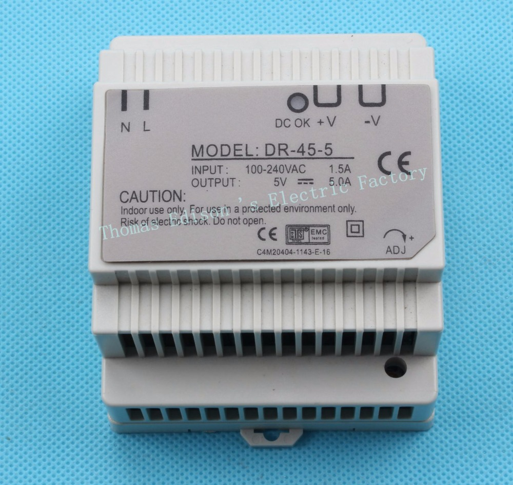 Din rail power supply 45w 5V power suply 5v 45w ac dc converter dr-45-5 good quality<br><br>Aliexpress