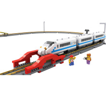 China Railway High-speed Diamond Building Blocks LOZ Mini Electric Train Model DIY Small Bricks Educational Brinquedos for Kids