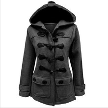 Spring Autumn Overcoat Female Slim Hooded Collar Horn Button Full Sleeve OverCoats Outerwear Women Trench Coat
