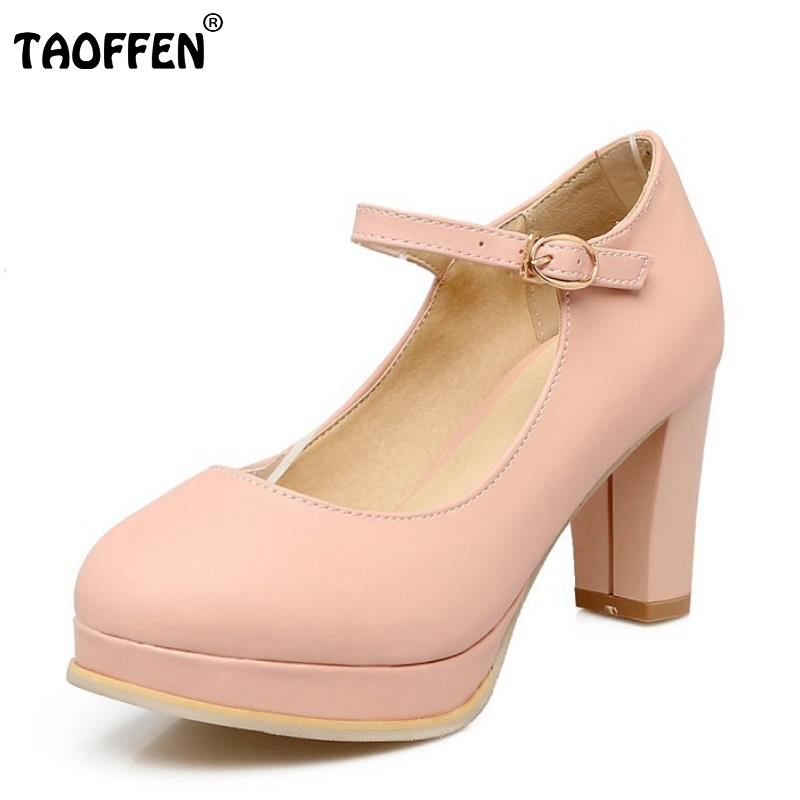 Size 33-43 Ladies High Heels Shoes Round Toe Ankle Strap Thick High Heeled Pumps Female Sexy Party Wedding Heels Footwears
