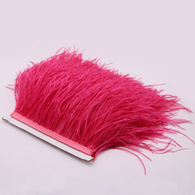 New Arrival 1yard High Quality Natural Watermelon Red Ostrich Feathers Fringe Ostrich Feather Ribbon 4-5inch/10-12cm Accessories