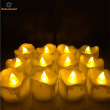 Redcolourful 12 pcs Decorative LED Candle Flickering Flameless LED Tea light Flicker Tea Party Wedding Candels Home Decoration