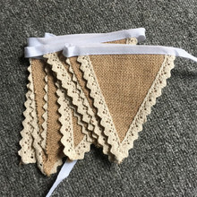 Natural Burlap Pennant Banner with Cotton Trimming Natural color Jute Bunting Flags for Party Decoration Event Party Supplies