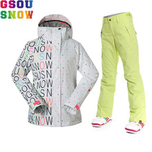 GSOU SNOW Brand Ski Suit Women Ski Jacket Pants Winter Waterproof Snowboard Clothes Mountain Skiing Suit Outdoor Sports Coat(China)