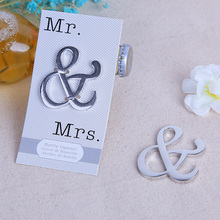 "(DHL,UPS,Fedex)FREE SHIPPING+50pcs/Lot+""Mr. & Mrs."" Silver Metal Ampersand Bottle Opener Unique Wedding Party Souvenir Gift(China)"