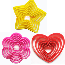 1 Set 6pcs Xmas Star Flower Heart Shape Cookie Cake Decoration DIY Bakeware Bread Sugarcraft Soap Baking Tools Kitchen Accessory