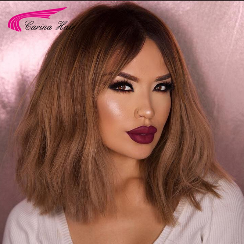 High Quality Peruvian virgin hair Short Front lace wigs Ombre Color Full Lace Human Hair Wigs T2/30# Glueless Wig with Baby Hair<br><br>Aliexpress