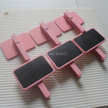 100 pcs Wholesale baby pink Wooden Blackboard Chalk Board Peg Clip Pink Table Number Stand Wedding Chalkboard Baby Shower Girls(China)