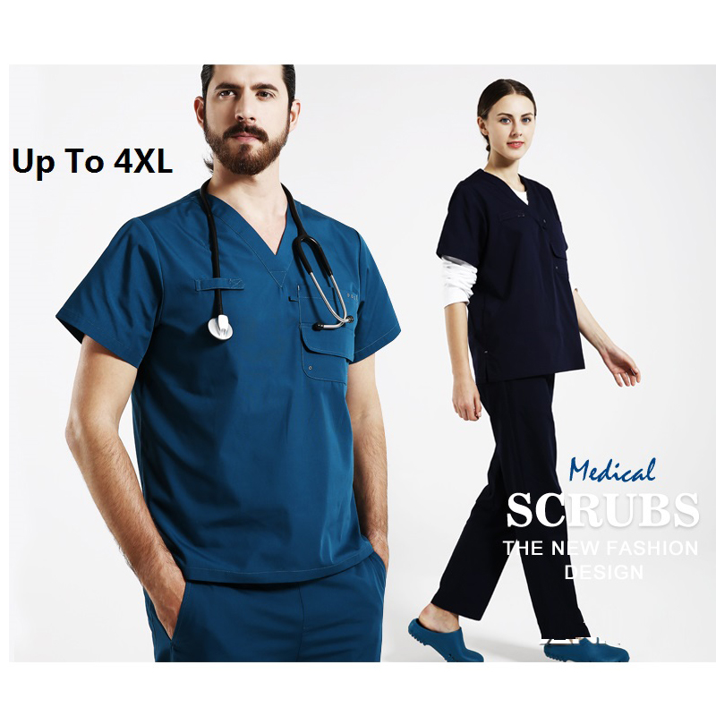 New Arrival!Hospital Doctor Nurse Woman&Man Short-sleeve Medical Clothing Surgical Isolation Medical Uniform Scrub Sets,J26