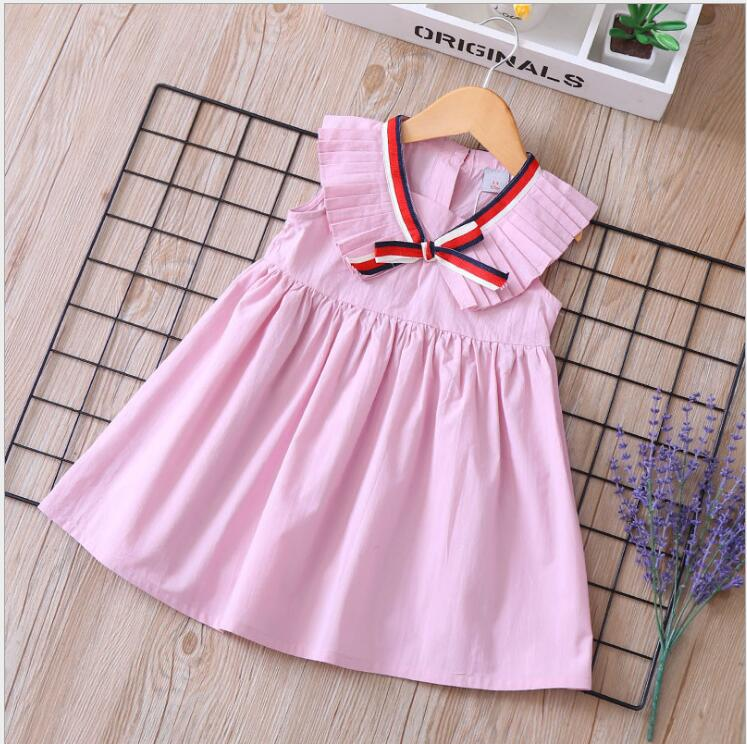 girls pleated dress 2019 new kids party dresses cotton bow girl princess dress fashion high-grade children clothes  2-7y