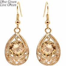 2017 girl gifts gold color women accessories Austrian Crystal water drop zircon earrings jewelry Fashion wedding Jewelry 80025(China)