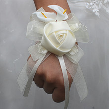 Best Price 5pcs/lot Ivory Rose Flower Calla Lily Wedding Wrist Flowers Bridesmaid Marriage Silk Corsages Artificial Hand Flowers