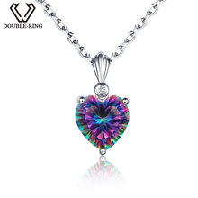 DOUBLE-R Rainbow Fire 3.2ct Created Mystic Topaz 925 sterling silver Heart Necklaces&Pendants for women(China)