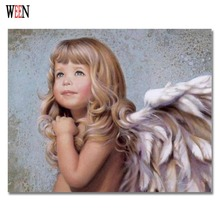 WEEN Angel Girl Picture By Number On Canvas DIY Digital Oil Poster Paintings by Number For Home Decorative 2017 New Child Gift(China)