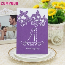 Compuda 20 Pcs Delicate Carved Romantic laser cutting marriage Wedding Party Invitation Card Envelope  u61026 DROP SHIP
