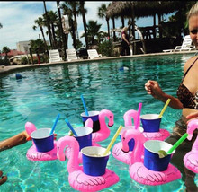 10 pieces /set Inflatable Drink Cup Holders Mini Flamingo Christmas Wedding Birthday Party Supply Swimming Pool Toys(China)