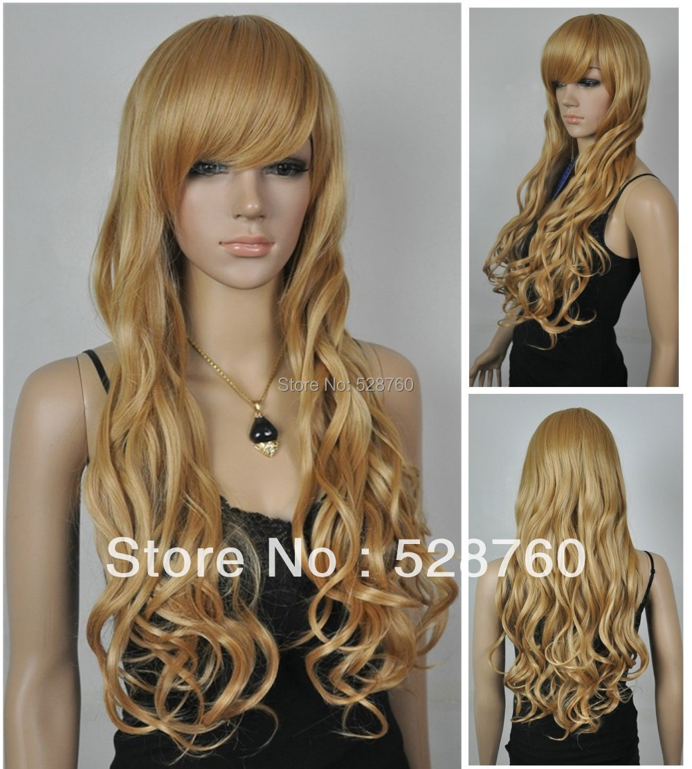 New Fashion Long gold Mixing Curly hair women s full wig   Free shipping<br><br>Aliexpress