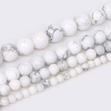 4/6/8/10mm Natural Round White Howlite Stone Dyed Color Loose Spacer Beads For Fashion Jewelry Making DIY Bracelet Wholesale