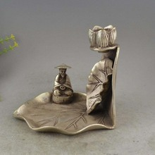 Chinese Buddhism Temple Silver The Elderly Lotus Inverted Flow Incense Marked(China)