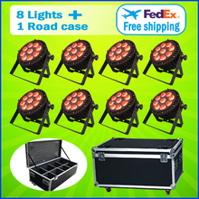 8 Lights + 1 Flight Case  9*15W RGBWA 5IN1 Outdoor Led Par Cans Light Led Par 64 Led 9x15 DMX Led Par Stage Lighting Effect