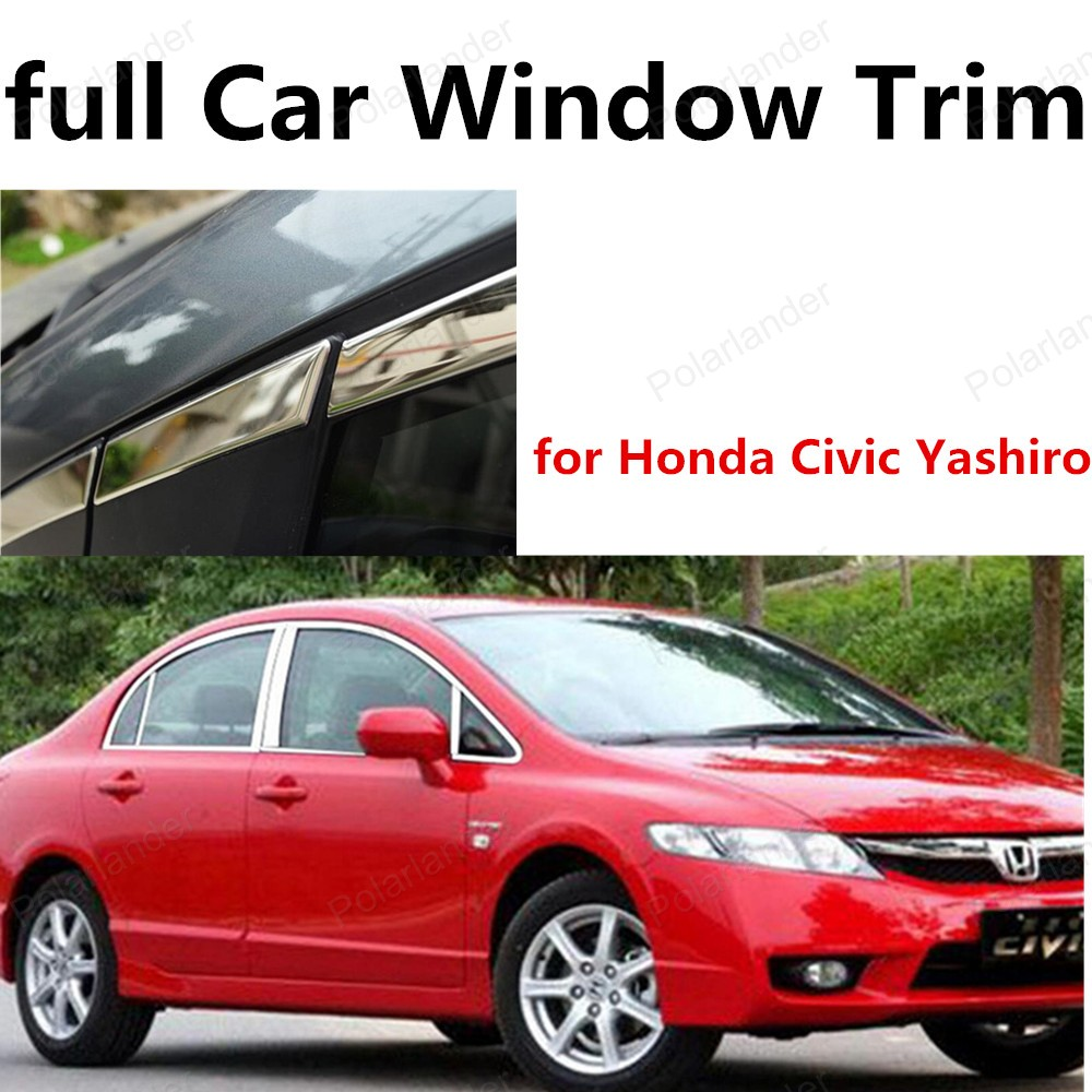 new stainless steel window frame decoration trim with center pillar for Honda Civic Yashiro full window trims<br><br>Aliexpress