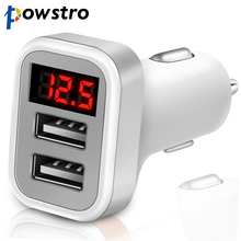 Powstro 2.1A Dual USB Car Charger Adapter with LED Display Voltage Current Low Voltage Warning Charging for Phone Tablet