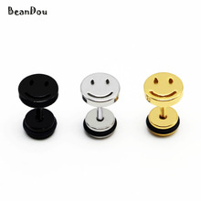 1pair fashion titanium stud earrings ear studs smile face stainless steel gold silver black 8mm 16G fake ear plugs men women new