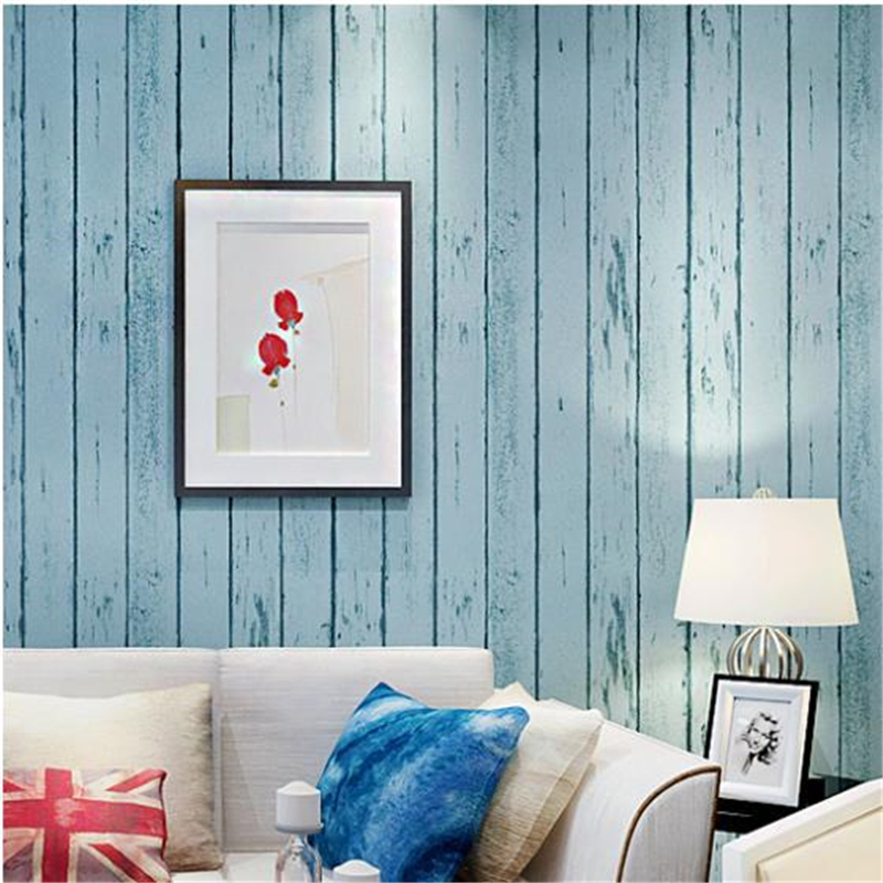 beibehang Blue White 3d wallpaper roll Natural Rustic Wood board wallcovering Design Vintage wall paper roll papel de parede 3d<br>