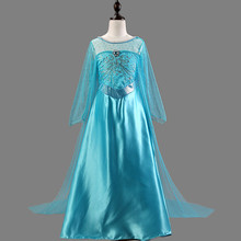 2016 New Girls Dress Long-Sleeve Winter Anna Elsa Dresses Kids Clothes Children's Clothing Party Snow Queen Christmas Costume