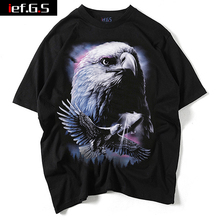 ief.G.S 2017 New Men's Personality Three-dimensional Eagle Short Sleeve Europe and The United States Street Fashion T-shirt(China)