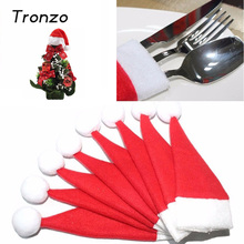 Tronzo 10pcs/lot Christmas Silverware Holder Mini Xmas Tree Santa Claus Hat Christmas Decoration For Home Navidad New 6*12CM(China)